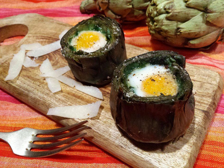 Carxofes farcides amb ou de guatlla